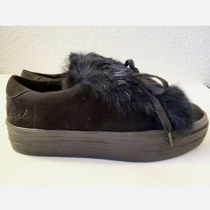 Coolway Black Pluton Faux Fur Sneakers Sz 9.5